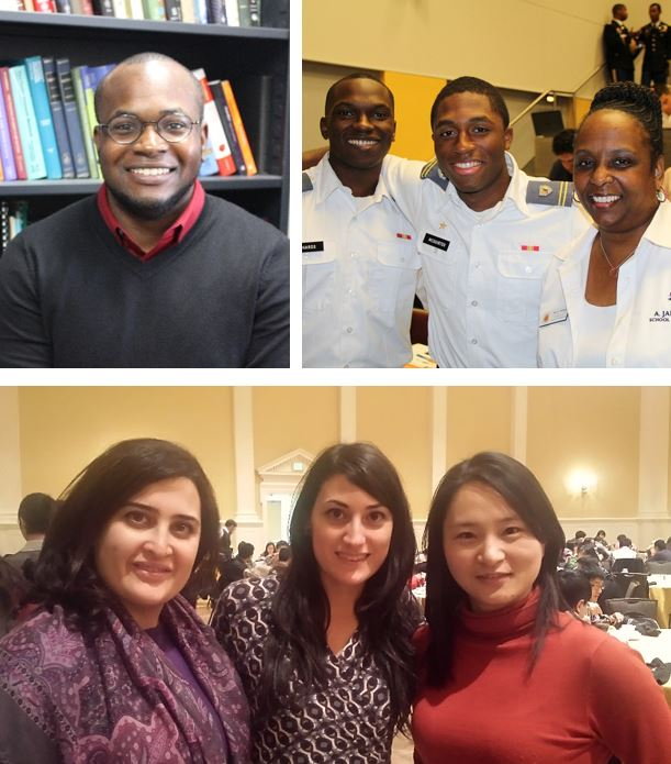 Top left: Obioma Ohia, PhD, UMD's first PROMISE Postdoctoral Fellow. Photo by Rikke Nielsen. Top right: Undergraduate students attend the 2014 GEM Grad Lab hosted by UMD to learn more about graduate study in the STEM fields. Photo courtesy of PROMISE. Bottom: (from left to right) Mahsa Ahmadian, a master's student from Iran studying project management; Valentina Mazzotti, a doctoral student from Italy studying art history; and Wei Xu, a master's student from China studying public management attend the Graduate School's 2014 International Thanksgiving Dinner. Photo by Niambi Wilder Winter.
