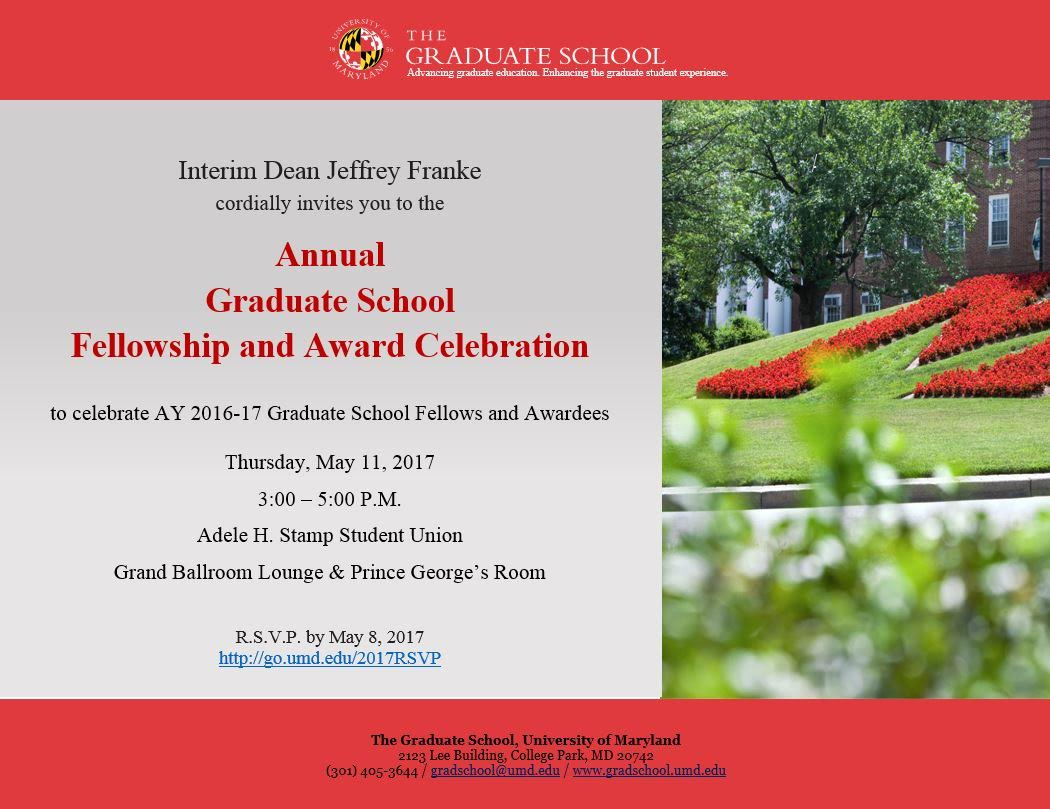 Fellowship and Award Celebration invitation