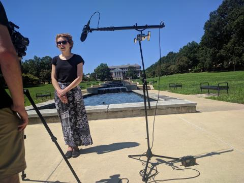 Graduate student Stephanie Allen during filming of the Graduate Student Stories project