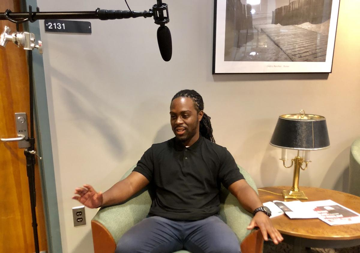 Graduate student Theodore Caruthers during the Graduate Student Stories film project